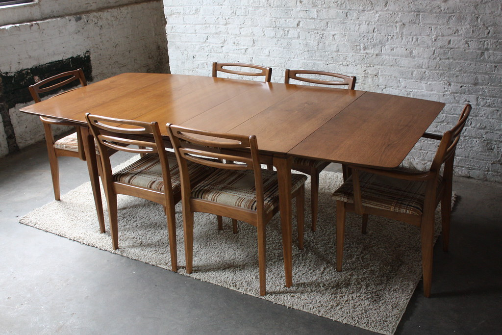 mid century round dining table set legs sweet walnut drop leaf six cat eye chairs modern uk