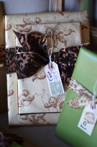 homemade gift tags and leopard print ribbon | by professorgal