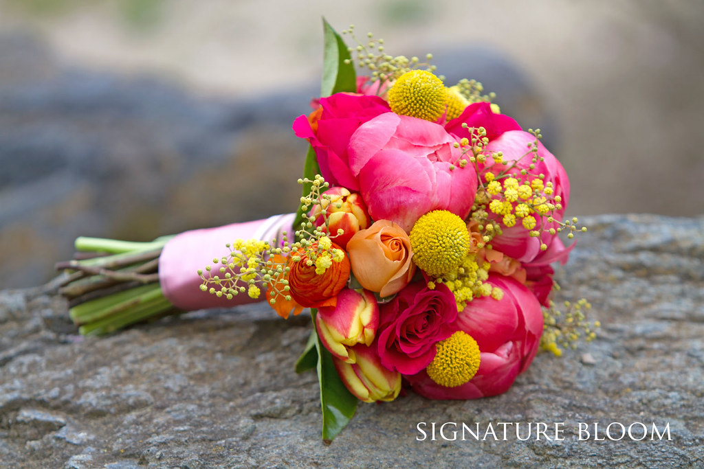 San Jose Bridal Bouquet Hot Pink Yellow