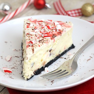 White Chocolate Peppermint Bark Cheesecake | by Tracey's Culinary Adventures