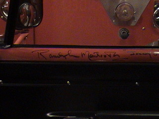 "Randolph Mantooth (""Johnny Gage"") Emergency! cast autographs on sill of 1975 Dodge D300, Squad 51, Los Angeles County Fire Museum, Bellflower, California, 2011.12.03 13:33 