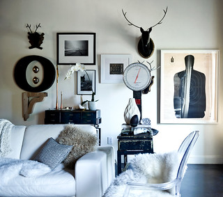 Rue {black and white eclectic scandinavian modern living room} | by recent settlers