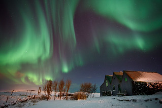 Cottage blasted by Aurora Borealis | by gummio