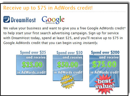 Dreamhost Google Adwords Credit | by denharsh