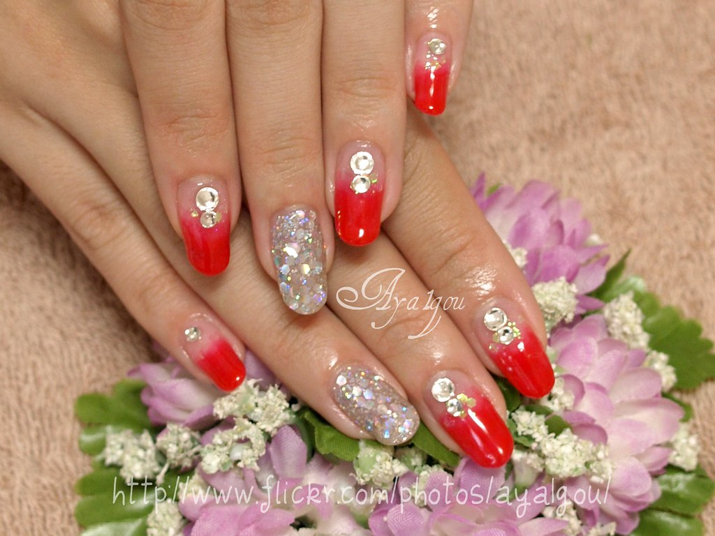 Red and silver nails | My client Remove old gel and art off … | Flickr
