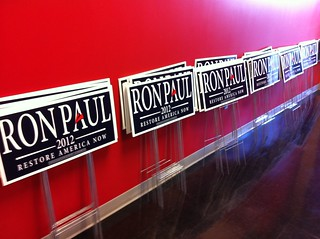 Ron Paul lawn signs await distribution at Iowa Speedway in Newton, IA | by Yahoo! Politics