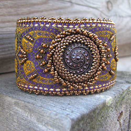 Purple Embroidered Cuff with Glass Button and Gold Beadwork | by Sylvia Windhurst