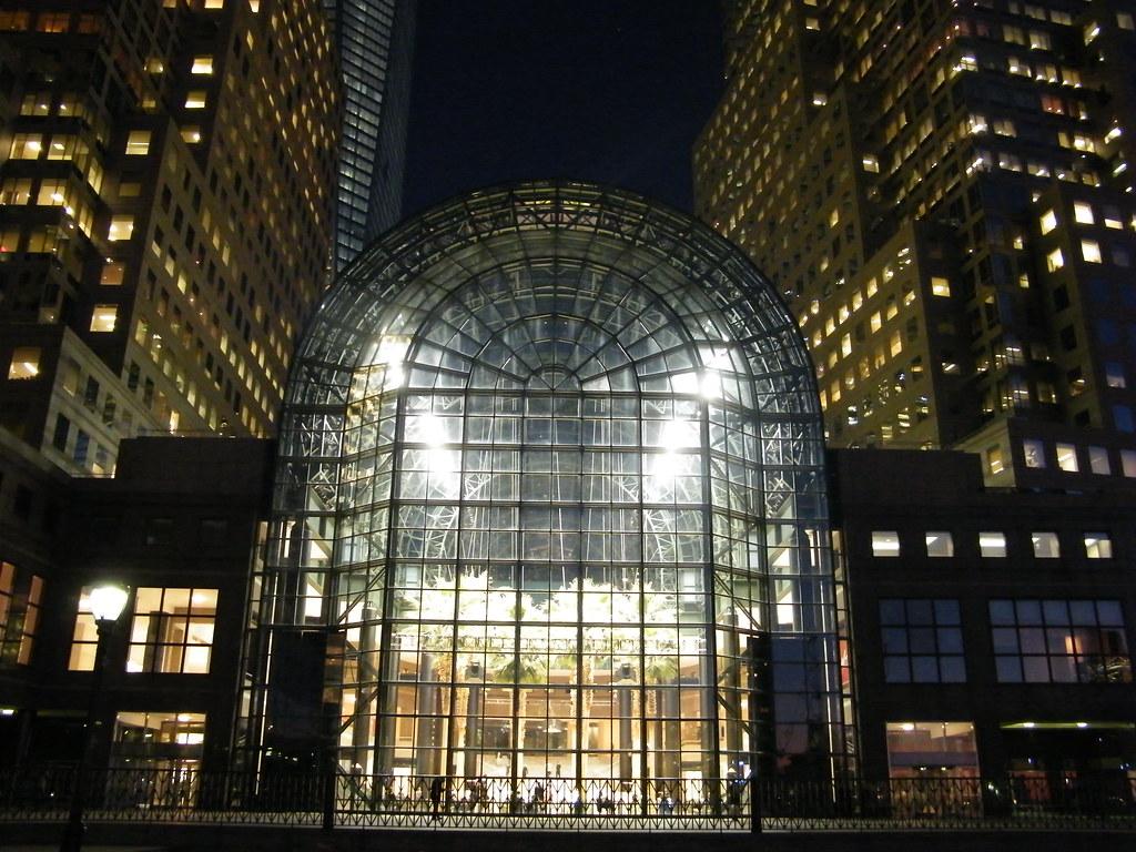 winter garden world financial center at night new york flickr
