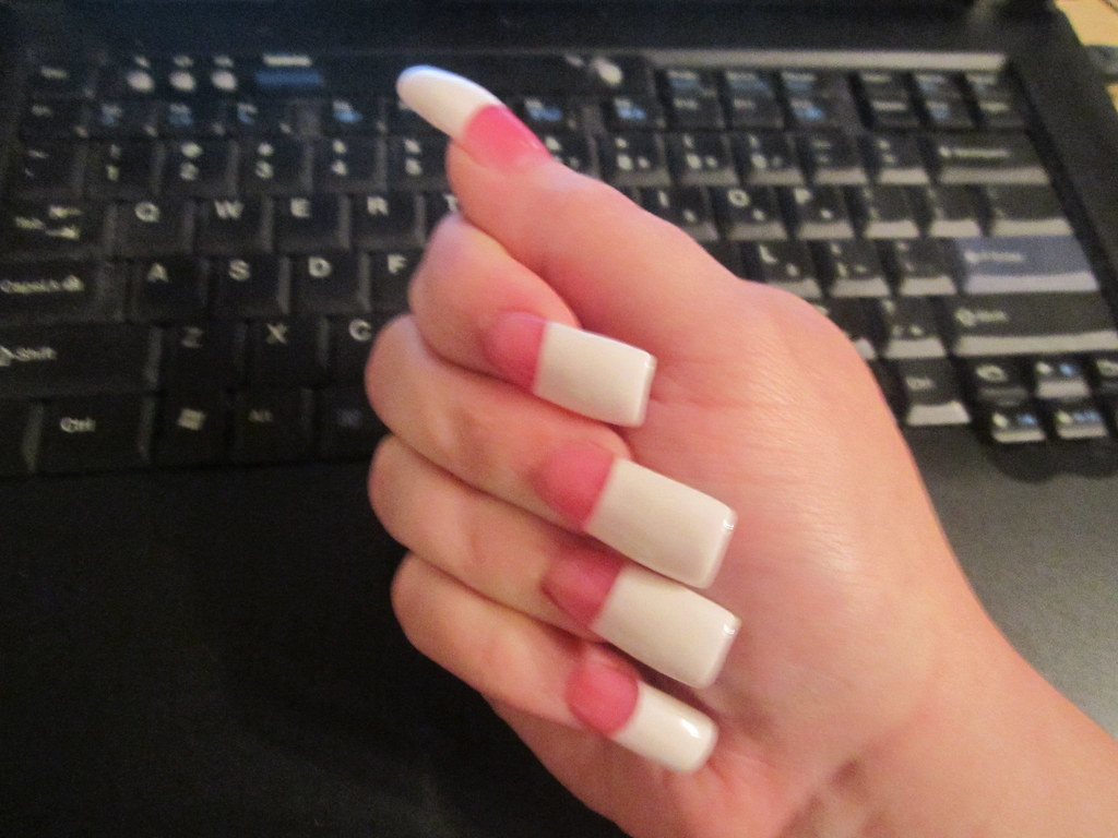 Long French Pink & White Acrylics 12/21/11 | Should I go sho… | Flickr