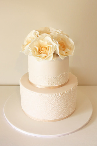 Classic rose wedding cake | by Cake Ink. (Janelle)