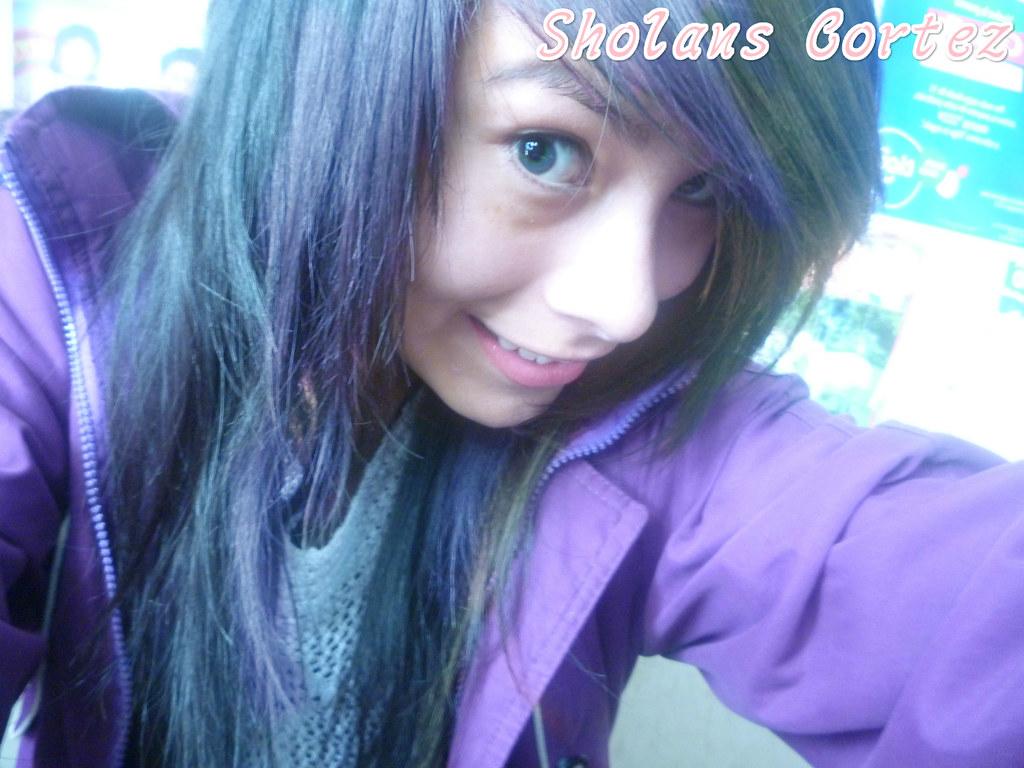 Emo Girl ,Scene Hair Black,Orange And Purple , Girl Cute -2932