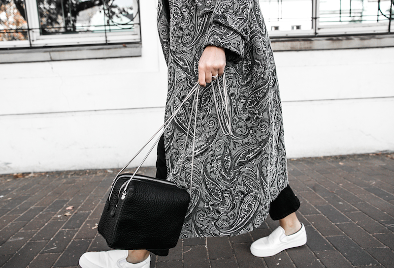 NAKED VICE x MODERN LEGACY affordable luxury bag chain celine like sneakers Ellery paisley coat outfit street style inspo (19 of 19)