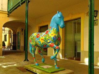 "The blue flower horse in the ""Old City Hall"" 