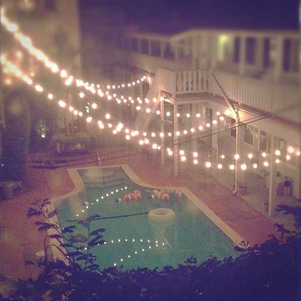 By Jasfitz | Letsfrolictogether String Lights Over The Pool   A Magic Urban  Yard. | By Jasfitz | Letsfrolictogether