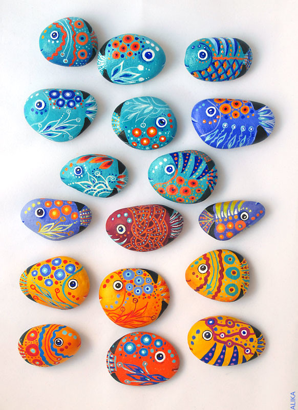 Painted Rocks Stones Fish Magnets