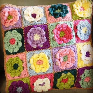 Granny Flower Square Pillow Free Crochet Pattern Flickr