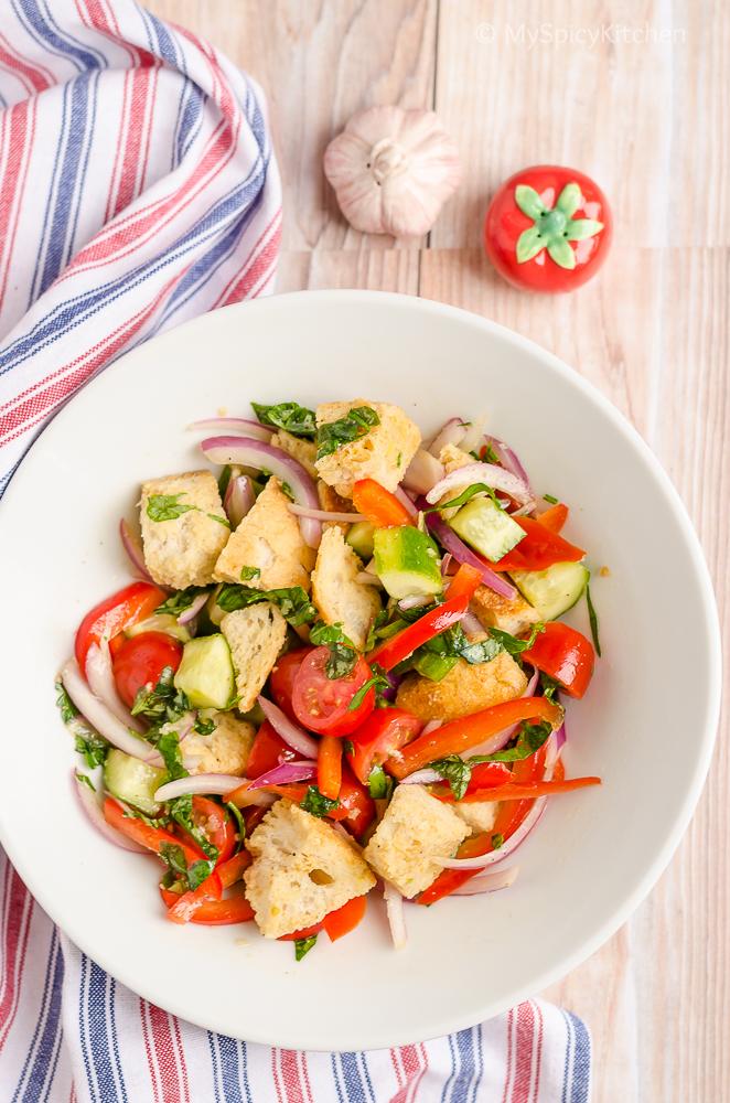 Blogging Marathon, Italian Food, Italian Cuisine, Italian Salad, Bread Salad, Summer Salad,
