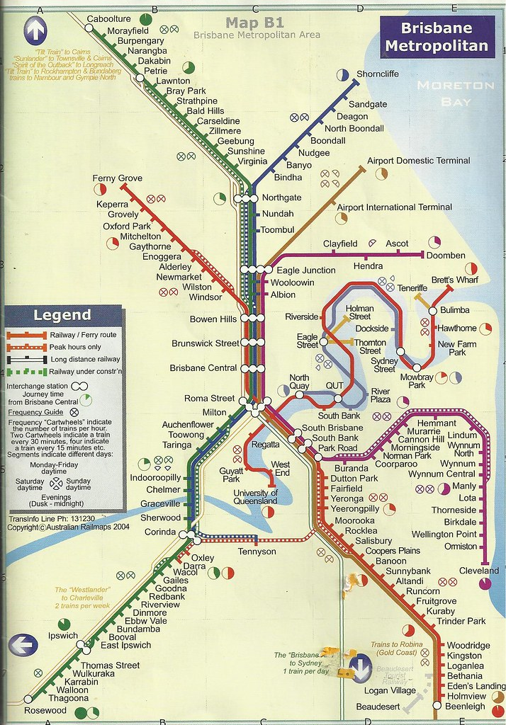 Map of the Brisbane train and ferry routes in 2004 John C Flickr