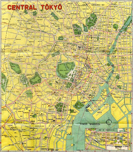1948 Central Tokyo Map Illustrated Map Of Major