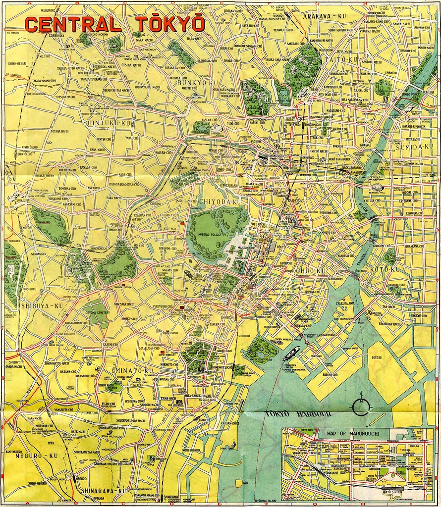 1948 Central Tokyo Map Illustrated map of major destinatio Flickr