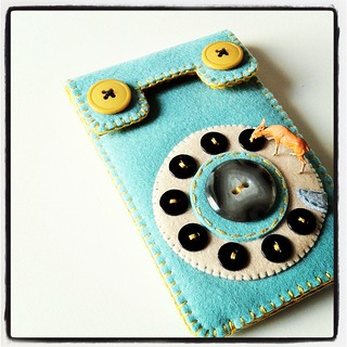 Dial Phone iPhone Case (smoky turquoise & mustard) | by hine