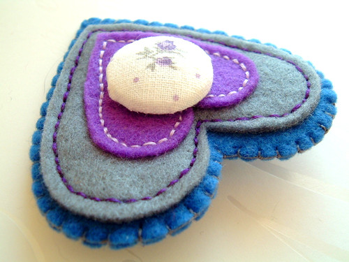 Felted brooch heart A/W collection | by ♥ Koalita Craft ♥