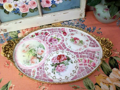 Beautiful Rose Mosaic Tray | by Grindstone Mountain Mosaics