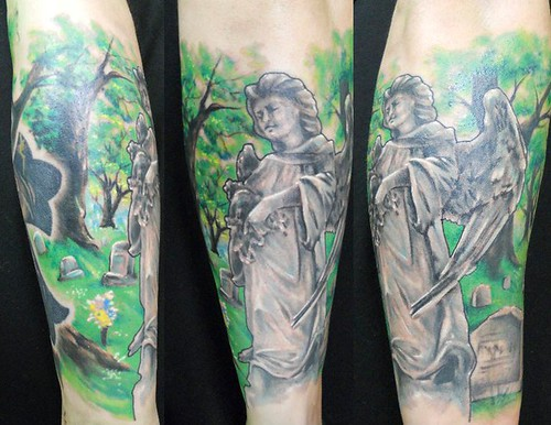 Angel statue cemetery tattoo by jackie rabbit custom for Cemetery tattoo pics