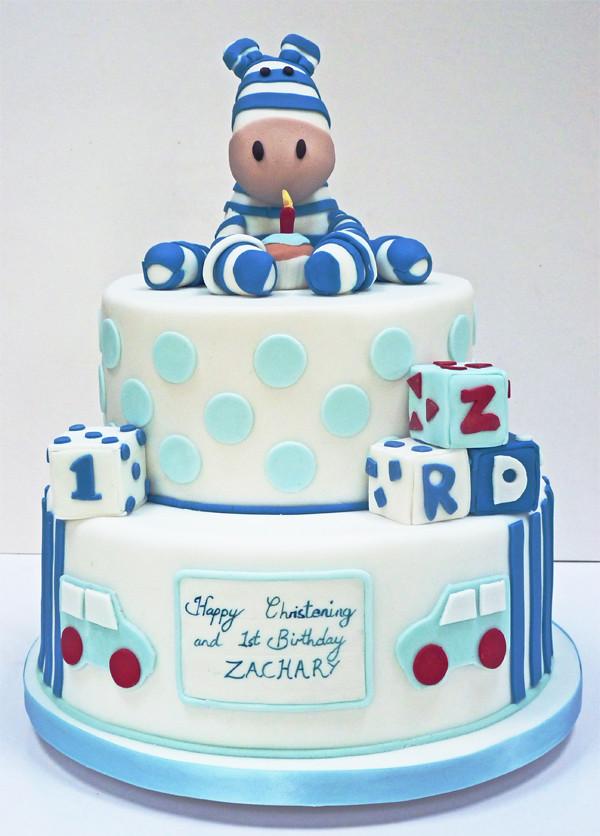 Zebra Birthday cake A 1st birthdaychristening cake with Flickr