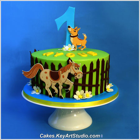 1st Birthday Cake For A Boy 2D Pop Up Horse And Dog
