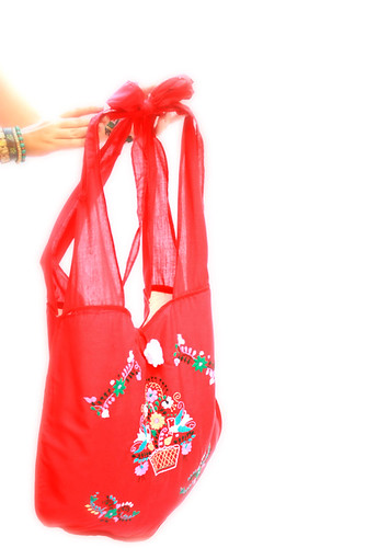Corazon Mexican red hand embroidered bag | by Aida Coronado Galeria