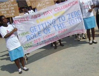 Youth with signs raising awareness about HIV/AIDS | by The Hunger Project