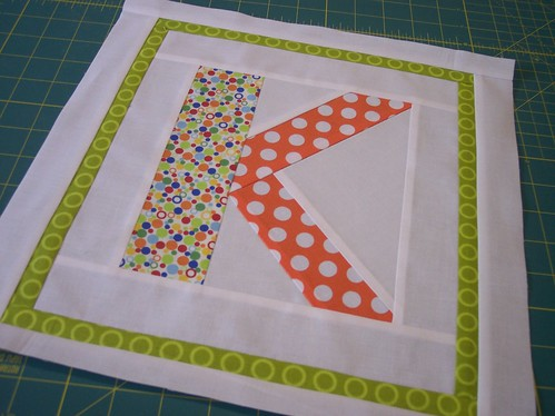 Alphabet Block - 'K' - for Lauren3385 - Twice as Nice Bee | by Around the Quilt Block