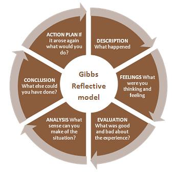 gibbs reflective model in physiotherapy Teacher reflective models: gibbs and rolfe essay 1139 words 5 pages show more  since most models of reflection require subjective and objective thinking then there is a willingness to be honest to engage constant self appraisal.
