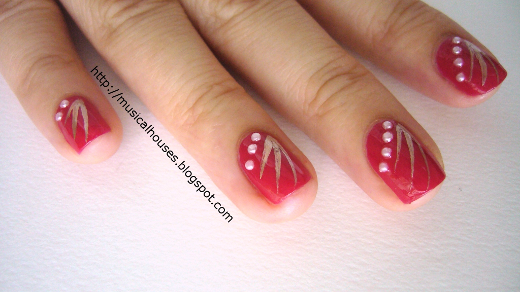 Chinese New Year Nail Art Red Gold 3 Musical Houses Flickr