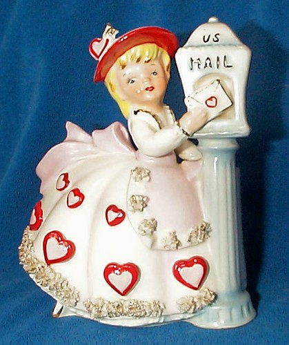 Vintage Relpo Valentine Girl At Mailbox Planter - Japan | by walterdworkin