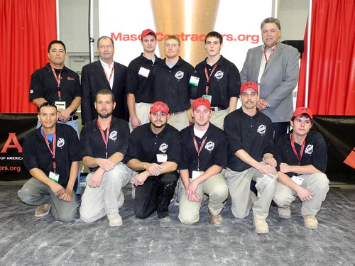 Mason Contractors Association Of America : Winners of the masonry skills challengeback row left