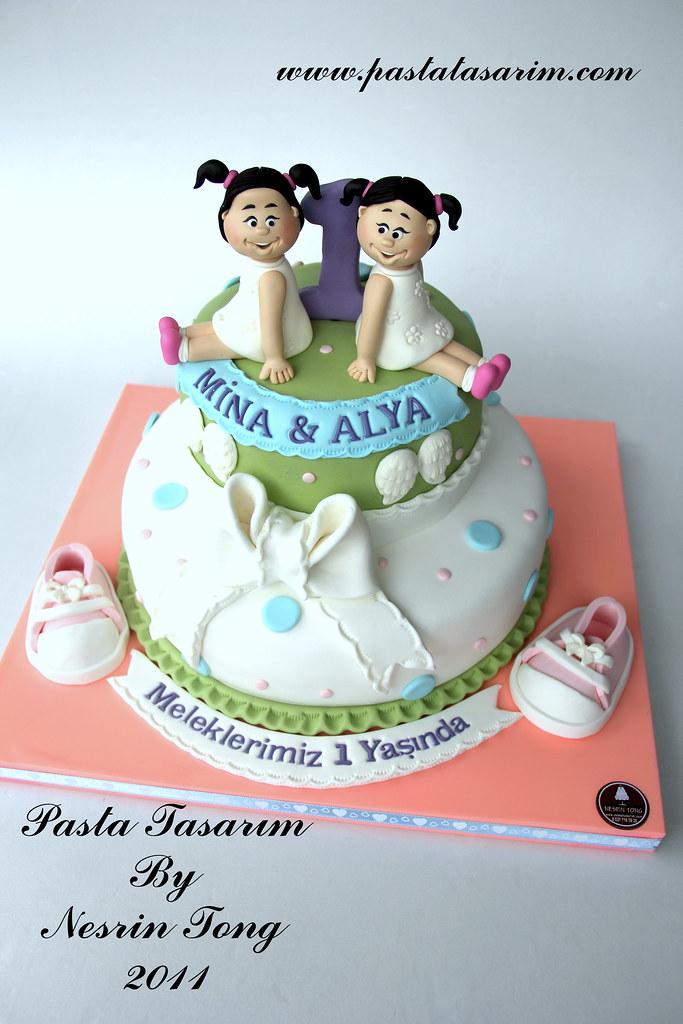 Twins 1st Birthday Cake Mina Alya Pastatasarim Cake By