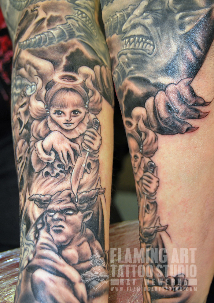 Angels And Demons Sleeve Tattoo Wwwfacebookcomflamingar Flickr