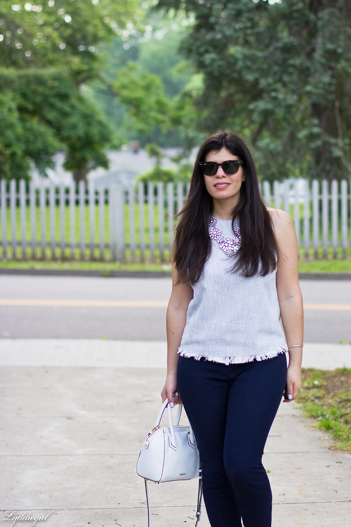 woven top, navy pants, statement necklace.jpg