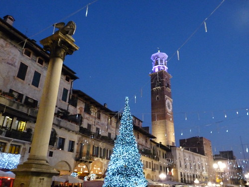 Season Greetings to all my Flickr friends. Night view of Piazza delle Erbe, Verona | by presbi