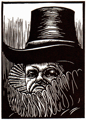 "linocut for ""Our Rarer Monsters"" (Polonius) 