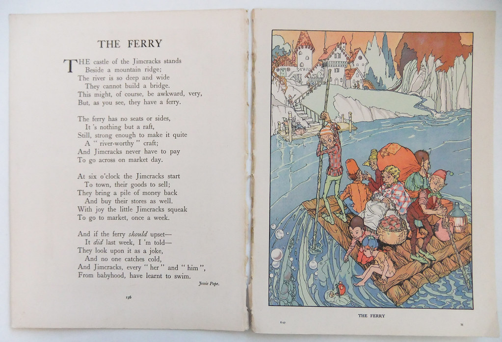 vintage book plates the ferry vintage poem and illustration from 1930s childrens book