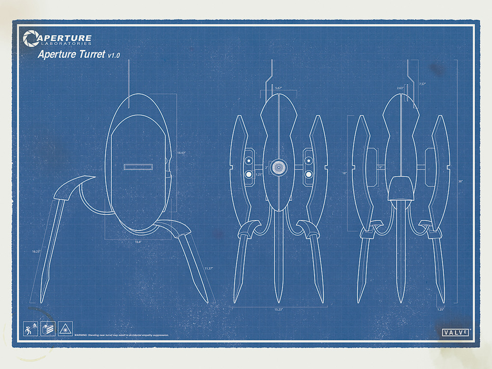 Portal turret blueprints poster this valve inspired poster flickr portal turret blueprints poster by citizensnips malvernweather Gallery