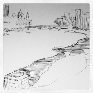 Five cold minutes on Vauxhall Brudge.#draw365 #adrawingaday #art #artist #drawing #sketchoftheday | by Nathaniel Fowles