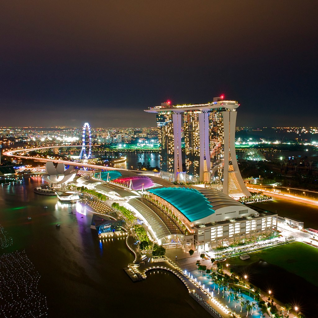 singapore marina bay sands night lights in different color flickr