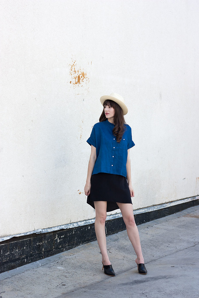 Summer Outfit with Hat, Linen Shirt, Pointed Mules