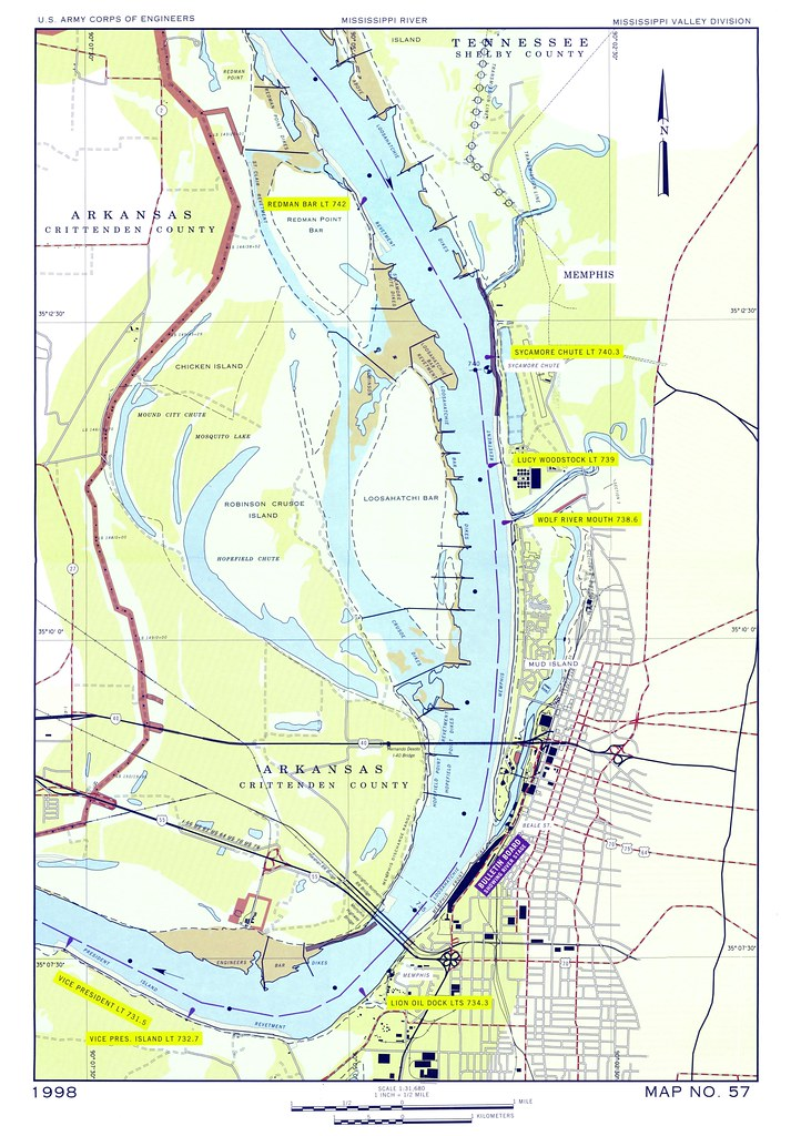 1998 map of Mississippi River area at Memphis TN US A Flickr