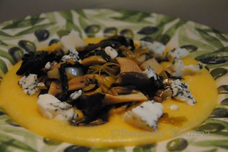 Polenta with Mushrooms, Cavalo Nero and Gorganzola | by BaronessTapuzina