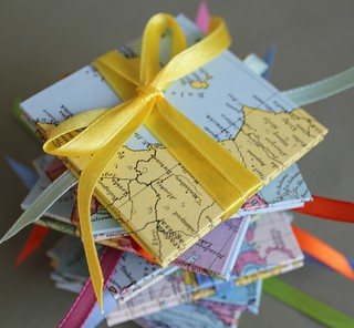 recycled map accordion mini books | by PrairiePeasant